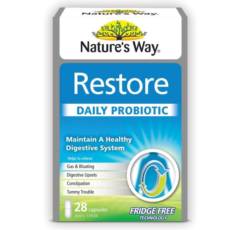 VIÊN UỐNG PHỤC HỒI HỆ TIÊU HÓA, LỢI KHUẨN NATURE'S WAY DIGESTIVE HEALTH RESTORE DAILY PROBIOTIC 28 VIÊN