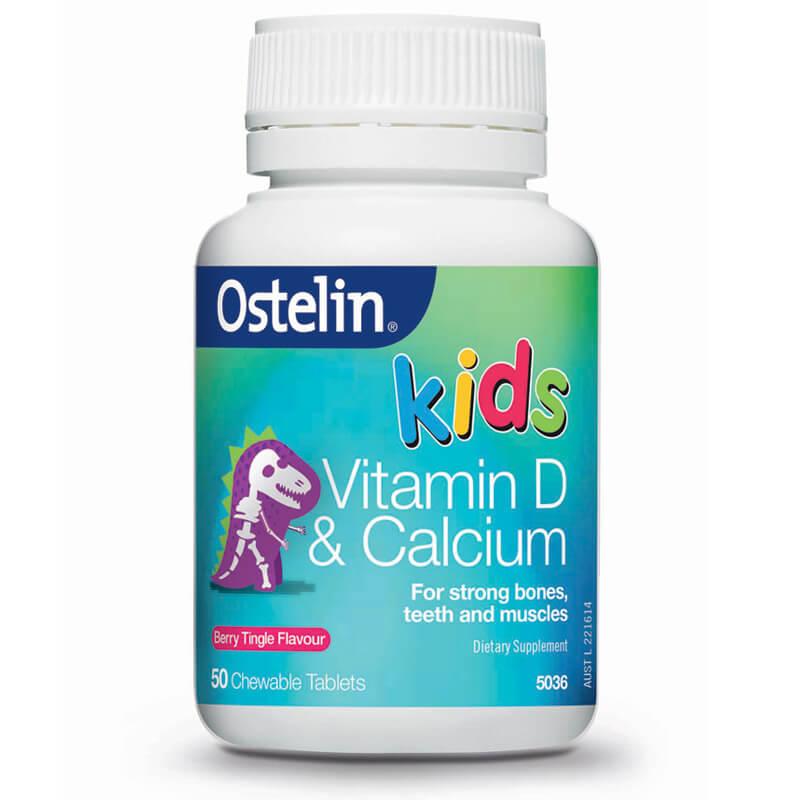 Bổ sung canxi và vitamin D cho bé -Ostelin Calcium & vitamin D Kids Chewable 50 viên